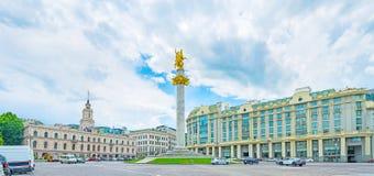 Panorama wolność kwadrat w Tbilisi Obraz Royalty Free