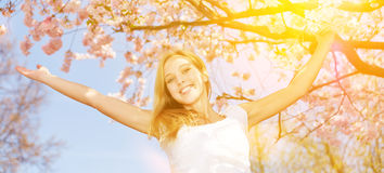 Panorama with woman under cherry tree with sun Stock Photography