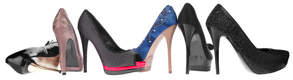 Panorama of women's shoes Royalty Free Stock Images