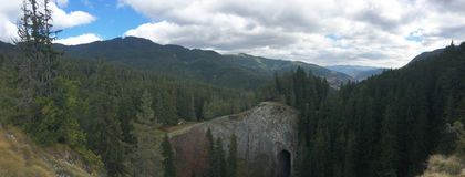 Panorama from the Wonderful Bridges. Natural arches in the Rhodope Mountains of southern Bulgaria Stock Photos
