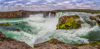 Panorama of wonderful Godafoss waterfall in Iceland. Europe Royalty Free Stock Images