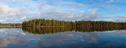Panorama of wood lake Stock Photo