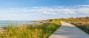 Panorama of Wood Path at the Beach Stock Photos