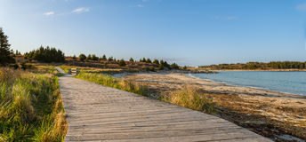 Panorama of wood path at the beach Royalty Free Stock Images