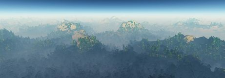 Panorama of wooded hills in the fog, rocky forest landscape Stock Photos