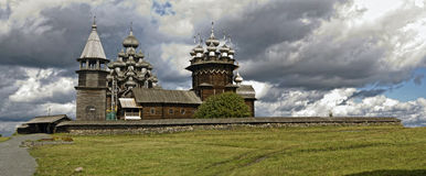 Panorama of wooden churches. Russia. Royalty Free Stock Photography