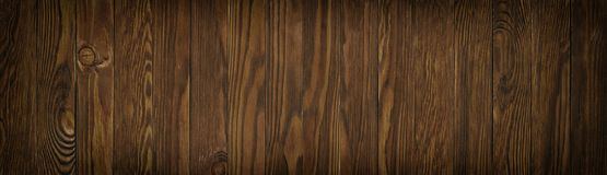 Panorama of wooden planks close up. Dark background of brown woo Stock Photography