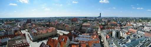 Panorama of Wroclaw city Poland Old town cityscape royalty free stock photo