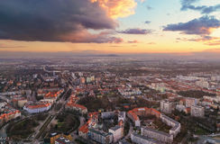Panorama of the Wroclaw city at sunset  in Wroclaw, Poland, Royalty Free Stock Image