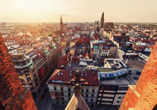 Panorama of the Wroclaw old city skyline at sunset, Poland Royalty Free Stock Photos