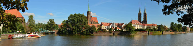 Panorama of Wroclaw - Ostrow Tumski-big picture Stock Images