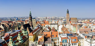 Panorama wroclaw, poland. Air view panorama with wroclaw (breslau), poland royalty free stock photo