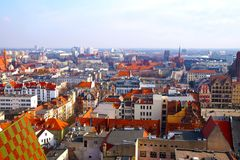 Panorama of Wroclaw, view of the center, new and old buildings, stock images
