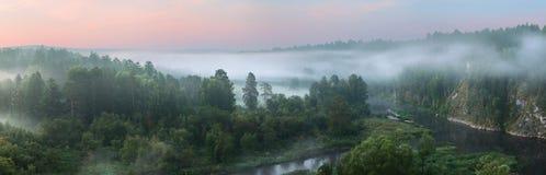 Panorama wschód słońca na rzece Zdjęcie Stock