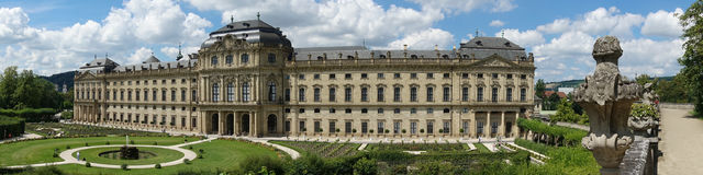 Panorama of Wuerzburg residence. WUERZBURG, GERMANY - August 06, 2017: The Wuerzburg Residence is a palace  which was commissioned by the Prince-Bishop of Wü Stock Images