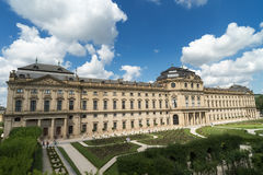 Panorama of Wuerzburg residence. WUERZBURG, GERMANY - August 06, 2017: The Wuerzburg Residence is a palace  which was commissioned by the Prince-Bishop of Wü Royalty Free Stock Images