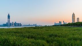 Panorama of Wuhan cityscape at sunset with Wuchang and Hankou di royalty free stock images