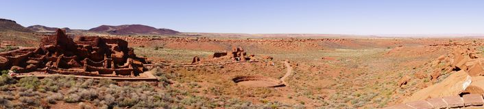 Panorama, Wupatki pueblo ruins Royalty Free Stock Images