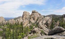 Panorama Wygryzione skały Custer stanu park, Północny Dakota obrazy royalty free