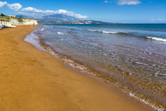 Panorama of Xi Beach,beach with red sand in Kefalonia, Greece Royalty Free Stock Photos