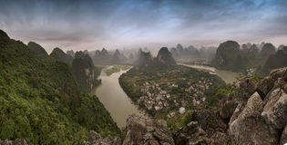 Panorama of xi ping village. Landscape guilin mountain in xi ping village china royalty free stock photography