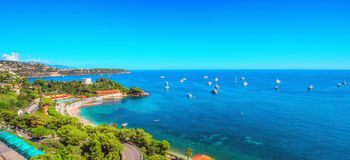 Panorama of yachts near the Monte Carlo Beach Hotel Stock Photography