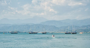 Panorama with 4 yachts Royalty Free Stock Photography