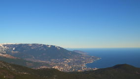 Panorama of Yalta coast from Mount Ai-Petri Crimea.  stock footage