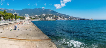Panorama of Yalta embankment royalty free stock photo