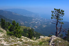 Panorama of Yalta from the height of Ai-Petri plat. A photo is done in a bright sunny canicular day in Crimea Stock Photography