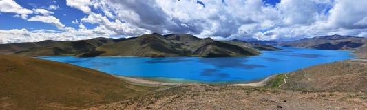 Panorama of Yamdrok lake. A panorama of Yamdrok Lake in Tibet, China Stock Image