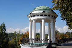 Panorama of Yaroslavl town, arbor decorated by white columns. Royalty Free Stock Photography
