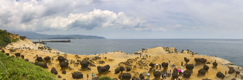 Panorama of Yehliu coastal geologic formations in summer Stock Image