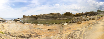 Panorama of Yehliu geologic formations in summer Royalty Free Stock Images