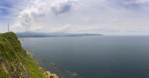 Panorama of Yehliu nature and coastline Royalty Free Stock Photos