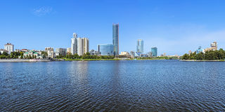 Panorama of Yekaterinburg-City from the city pond, Russia Stock Images