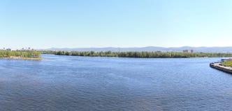 Panorama of the Yenisei with footbridge. Krasnoyarsk Royalty Free Stock Photos