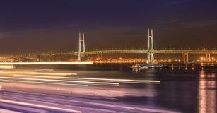 Panorama of Yokohama Bay Bridge from ÅŒsanbashi Pier with boats stock photo