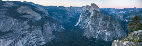 Panorama of Yosemite at Glacier Point Stock Images