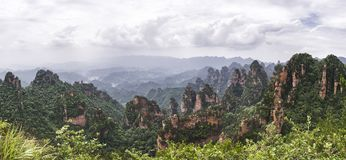 Panorama: Yuanjiajie Scenic Area, Wulingyuan, Zhangjiajie National Forest Park, Hunan Province, China, Asia.  stock photos