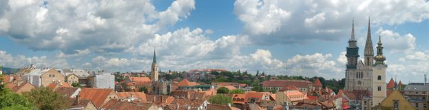 Panorama of Zagreb. Cloudy cityscape of Zagreb, capitol of Croatia Royalty Free Stock Photo