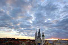 Panorama of Zagreb with the Cathedral Royalty Free Stock Images