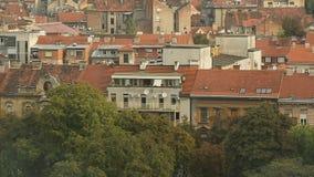 Panorama Zagreb dachy, mgiełka nad miastem, Europejska architektura, podróż zbiory