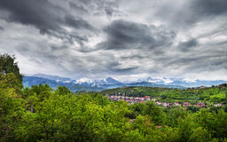 Panorama of Zaili Alatau mountains in Alamty Stock Images