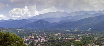 Panorama of zakopane city and tatra mountains Stock Photo