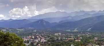 Panorama of zakopane city and tatra mountains Stock Photo