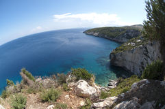 Panorama in Zakynthos. Panorama of a beautiful lanscape of sea in Zakynthos Royalty Free Stock Photography