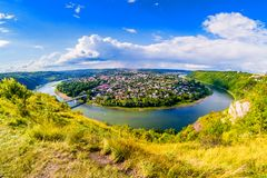 Panorama Zalishchyky i Dniester rzeka obraz royalty free