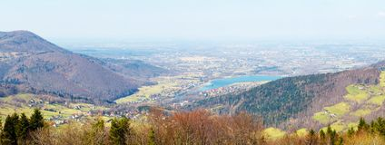 Panorama from the Zar mountain on settlement in spring day. Poland. Europe Royalty Free Stock Images