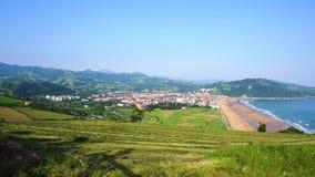 Zarauz, Pais Vasco, Spain. Panorama of Zarauz at sunny summer day, Pais Vasco, Spain stock video footage
